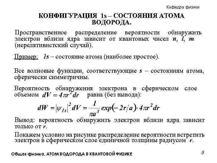 Кафедра физики КОНФИГУРАЦИЯ 1 s – СОСТОЯНИЯ АТОМА ВОДОРОДА. Пространственное распределение вероятности обнаружить электрон