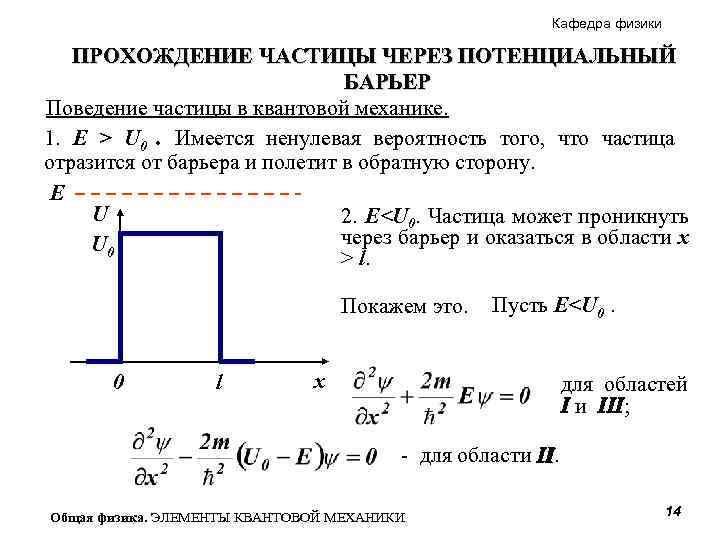 Кафедра физики ПРОХОЖДЕНИЕ ЧАСТИЦЫ ЧЕРЕЗ ПОТЕНЦИАЛЬНЫЙ БАРЬЕР Поведение частицы в квантовой механике. 1. E