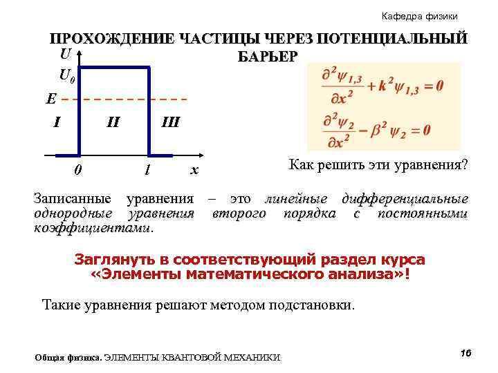 Кафедра физики ПРОХОЖДЕНИЕ ЧАСТИЦЫ ЧЕРЕЗ ПОТЕНЦИАЛЬНЫЙ U БАРЬЕР U 0 E I II 0