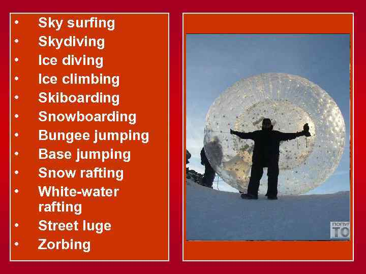 • • • Sky surfing Skydiving Ice climbing Skiboarding Snowboarding Bungee jumping Base