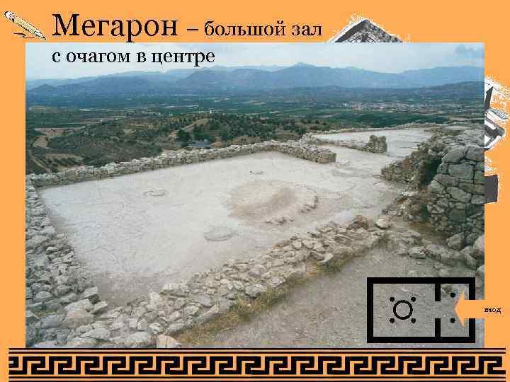 Мегарон – большой зал с очагом в центре на акрополь вход