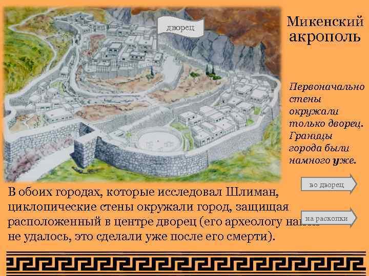 дворец Микенский акрополь Первоначально стены окружали только дворец. Границы города были намного уже. во