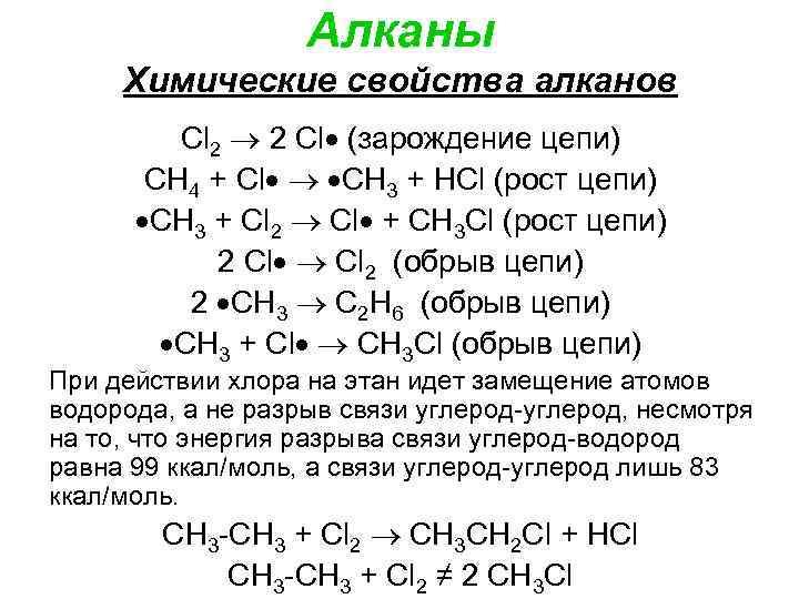 Алканы Химические свойства алканов Cl 2 2 Cl (зарождение цепи) СН 4 + Cl