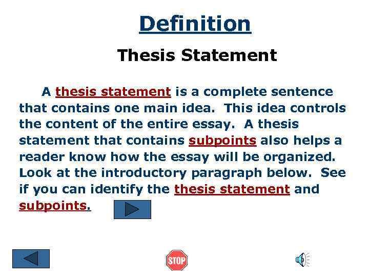 thesis statements to complete In fact, a solid thesis statement should avoid any biased viewpoints misleading, subjective or deceptive statements like i don't like jazz or bad expository thesis statement: fixed-wing aircraft were invented because they wanted to travel to farther locations, change the methods of warfare and.