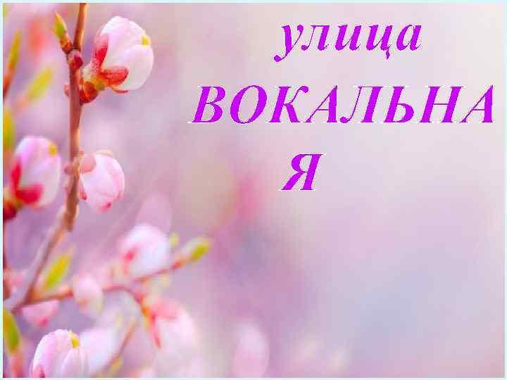 улица ВОКАЛЬНА Я