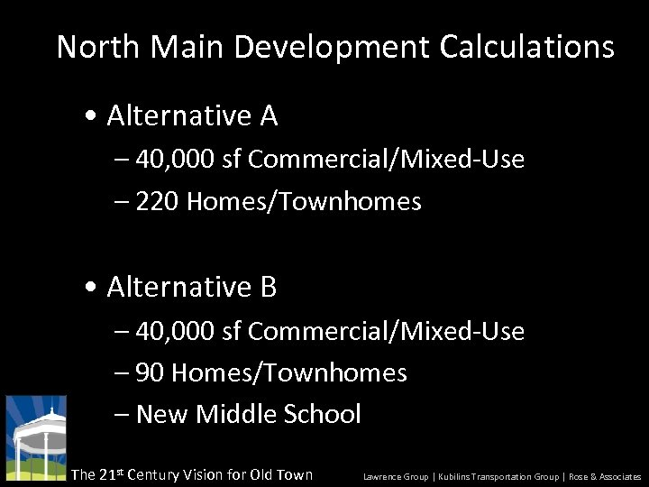 North Main Development Calculations • Alternative A – 40, 000 sf Commercial/Mixed-Use – 220