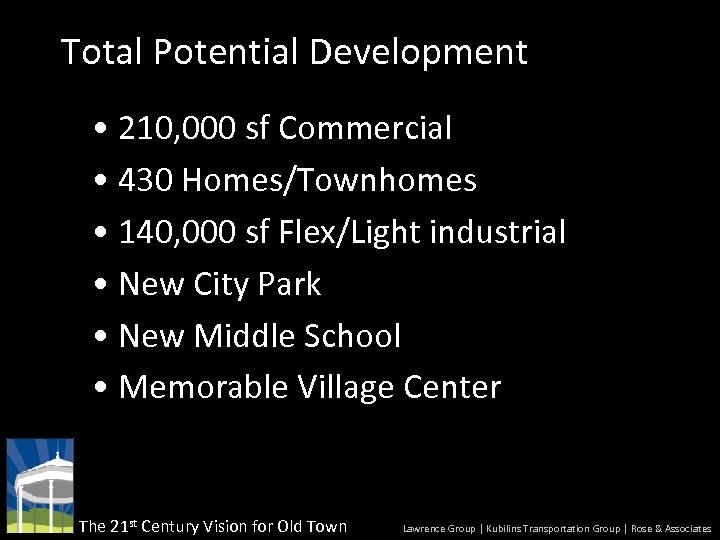 Total Potential Development • 210, 000 sf Commercial • 430 Homes/Townhomes • 140, 000
