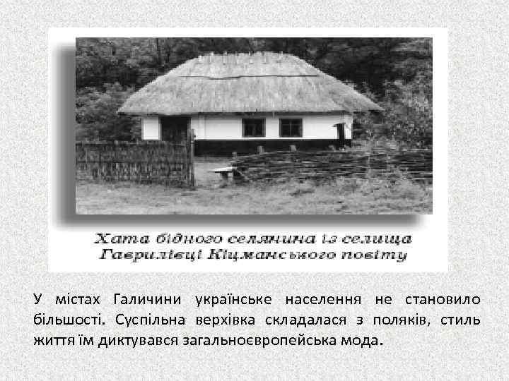 У містах Галичини українське населення не становило більшості. Суспільна верхівка складалася з поляків, стиль