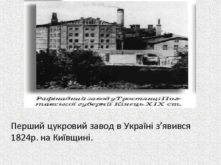 Перший цукровий завод в Україні з'явився 1824 р. на Київщині.