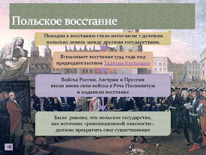 Польское восстание Поводом к восстанию стало несогласие с дележом польских земель между другими государствами.