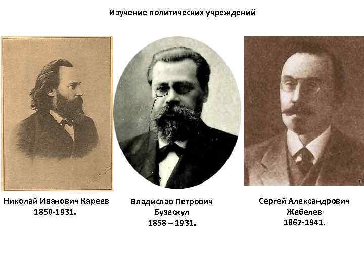 Изучение политических учреждений Николай Иванович Кареев 1850 -1931. Владислав Петрович Бузескул 1858 – 1931.