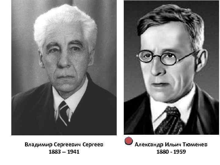 Владимир Сергеевич Сергеев 1883 – 1941 Александр Ильич Тюменев 1880 - 1959