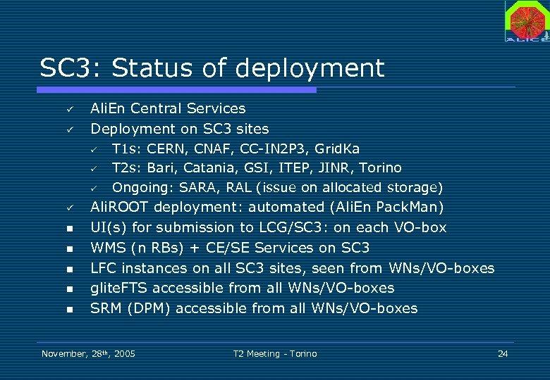 SC 3: Status of deployment ü ü Ali. En Central Services Deployment on SC