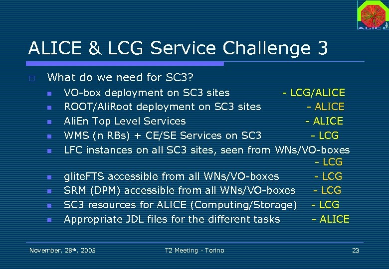 ALICE & LCG Service Challenge 3 o What do we need for SC 3?