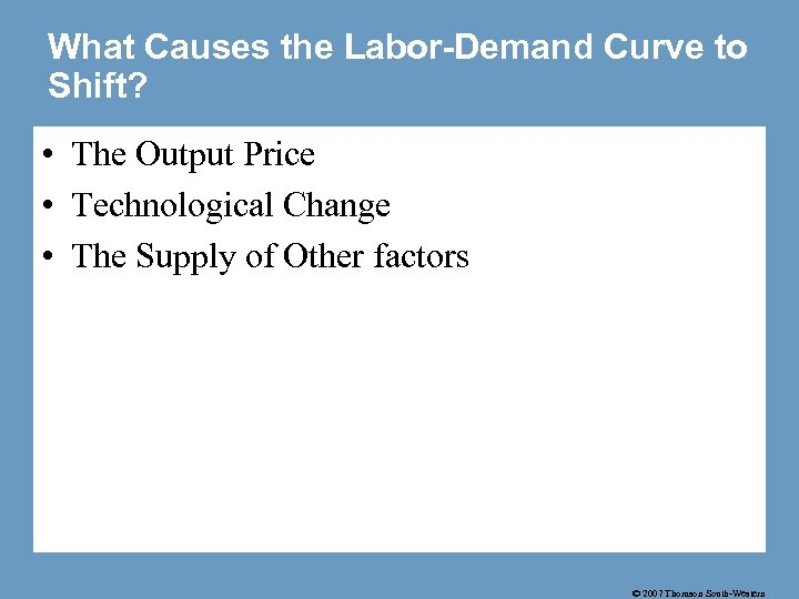 What Causes the Labor-Demand Curve to Shift? • The Output Price • Technological Change