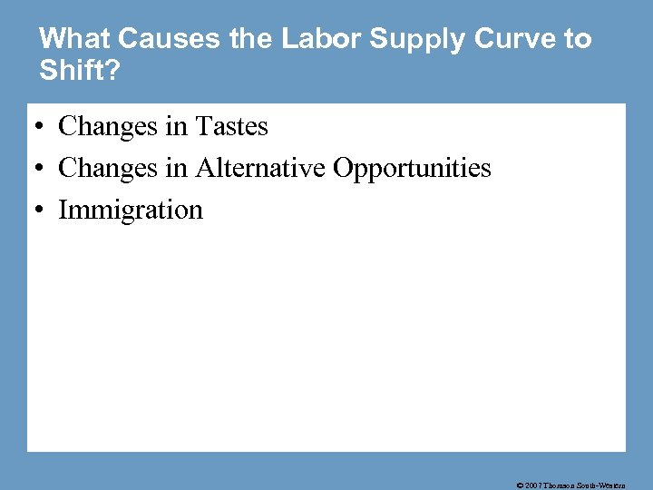 What Causes the Labor Supply Curve to Shift? • Changes in Tastes • Changes