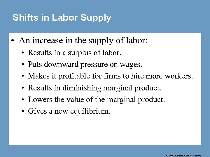 Shifts in Labor Supply • An increase in the supply of labor: • •
