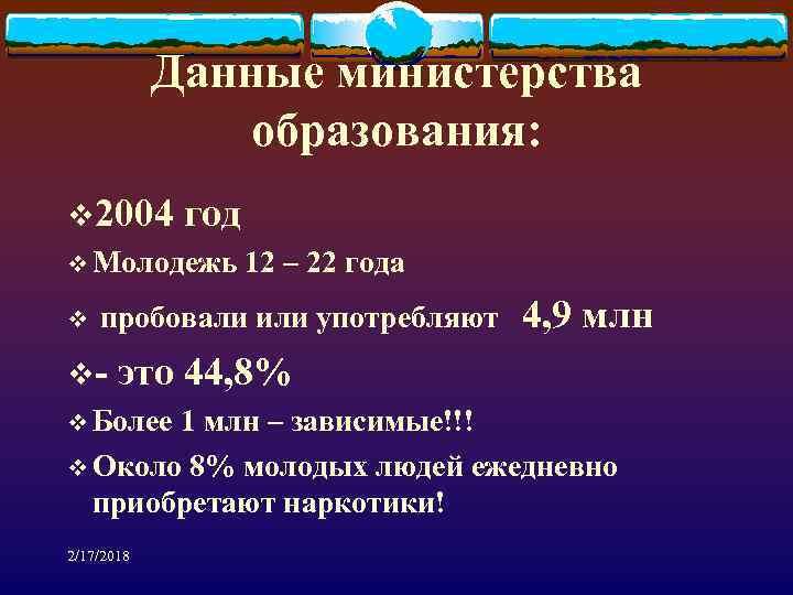 Данные министерства образования: v 2004 год v Молодежь 12 – 22 года v пробовали