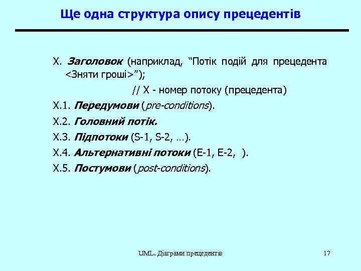 """Ще одна структура опису прецедентів X. Заголовок (наприклад, """"Потік подій для прецедента <Зняти гроші>"""");"""