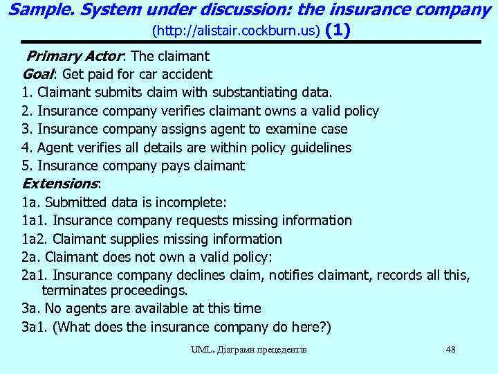 Sample. System under discussion: the insurance company (http: //alistair. cockburn. us) (1) Primary Actor: