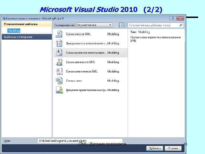 Microsoft Visual Studio 2010 (2/2) UML. Діаграми прецедентів 61
