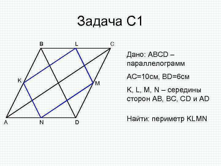 Задача С 1 B L C Дано: ABCD – параллелограмм K A M N