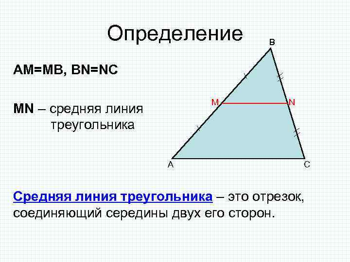 Определение B AM=MB, BN=NC M MN – средняя линия треугольника A N C Средняя