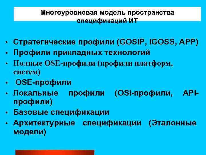 Многоуровневая модель пространства спецификаций ИТ • • Стратегические профили (GOSIP, IGOSS, APP) Профили прикладных