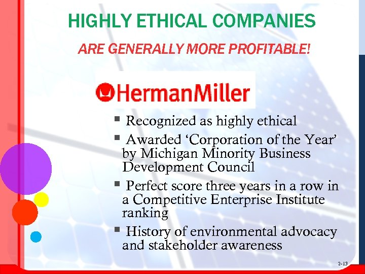 HIGHLY ETHICAL COMPANIES ARE GENERALLY MORE PROFITABLE! § Recognized as highly ethical § Awarded