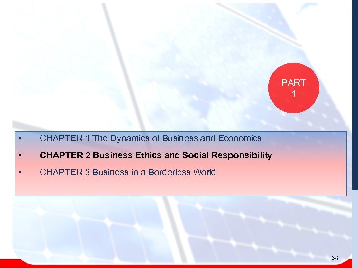 PART 1 • CHAPTER 1 The Dynamics of Business and Economics • CHAPTER 2