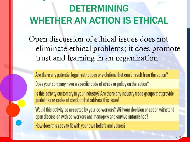 DETERMINING WHETHER AN ACTION IS ETHICAL Open discussion of ethical issues does not eliminate