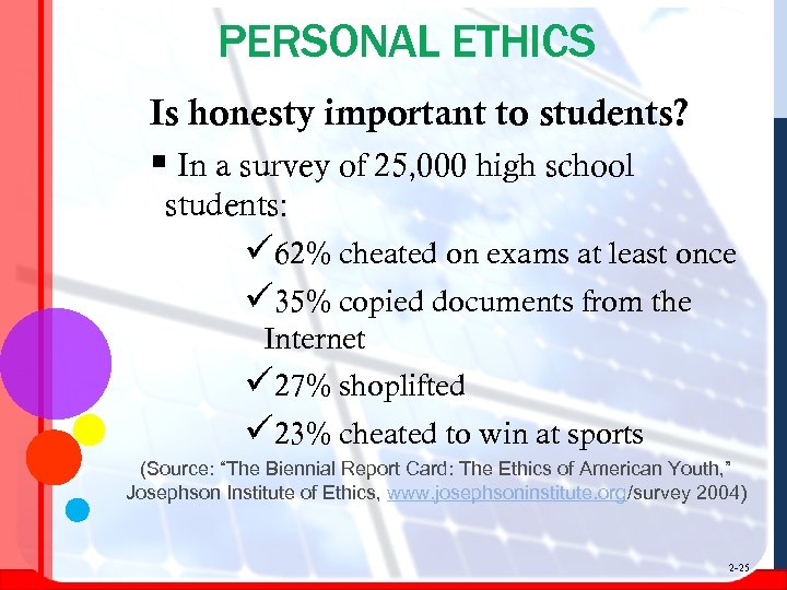 PERSONAL ETHICS Is honesty important to students? § In a survey of 25, 000
