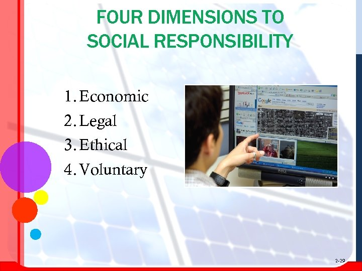FOUR DIMENSIONS TO SOCIAL RESPONSIBILITY 1. Economic 2. Legal 3. Ethical 4. Voluntary 2