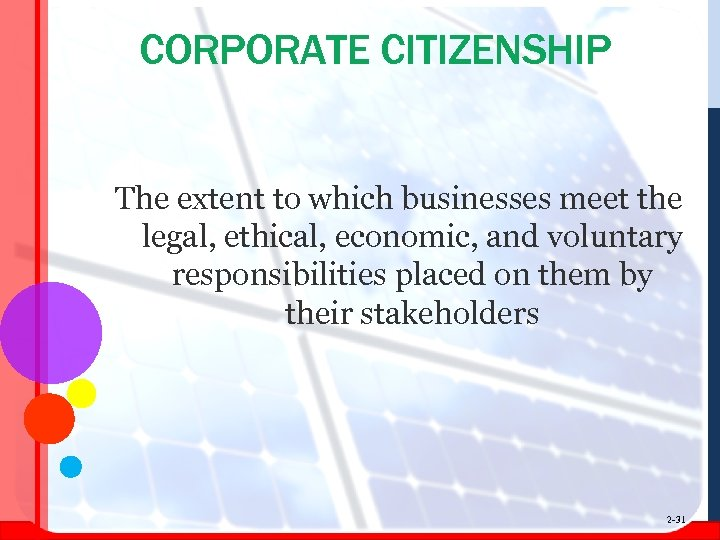 CORPORATE CITIZENSHIP The extent to which businesses meet the legal, ethical, economic, and voluntary
