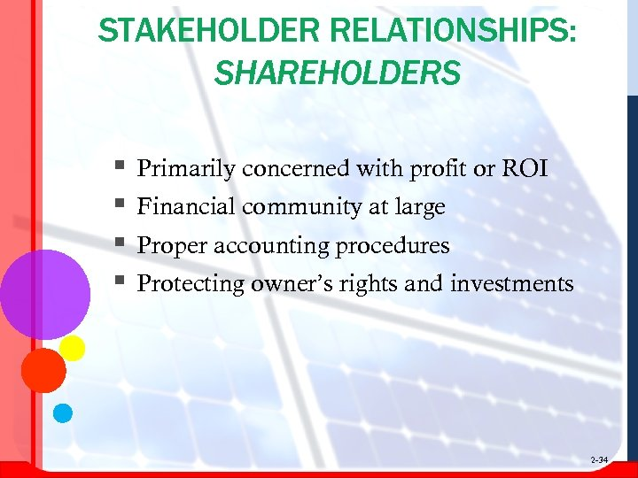 STAKEHOLDER RELATIONSHIPS: SHAREHOLDERS § § Primarily concerned with profit or ROI Financial community at
