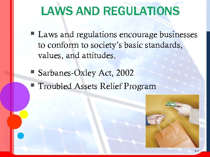 LAWS AND REGULATIONS § Laws and regulations encourage businesses to conform to society's basic