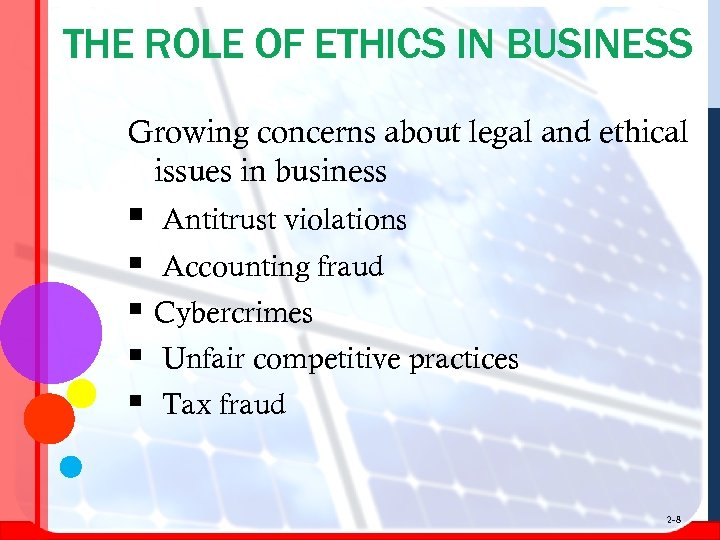 THE ROLE OF ETHICS IN BUSINESS Growing concerns about legal and ethical issues in