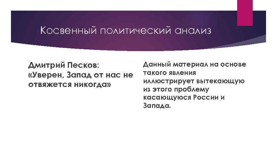 Косвенный политический анализ Дмитрий Песков: «Уверен, Запад от нас не отвяжется никогда» Данный материал