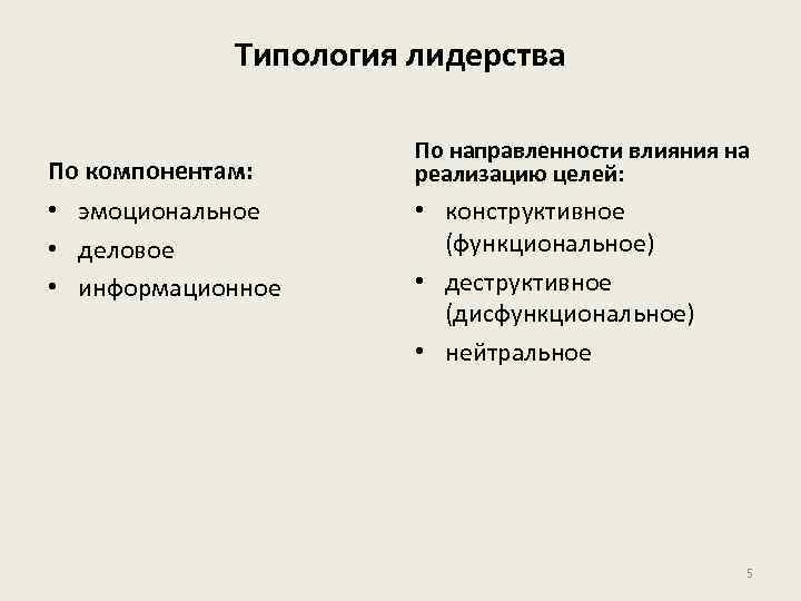 Типология лидерства По компонентам: • эмоциональное • деловое • информационное По направленности влияния на