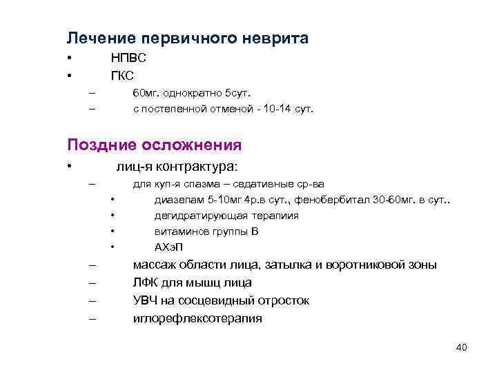 Лечение первичного неврита • • НПВС ГКС – – 60 мг. однократно 5 сут.