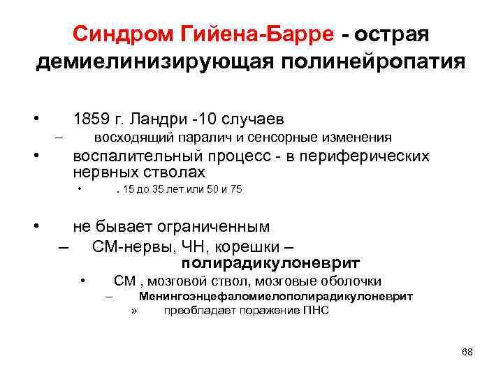 Синдром Гийена-Барре - острая демиелинизирующая полинейропатия • 1859 г. Ландри -10 случаев – •
