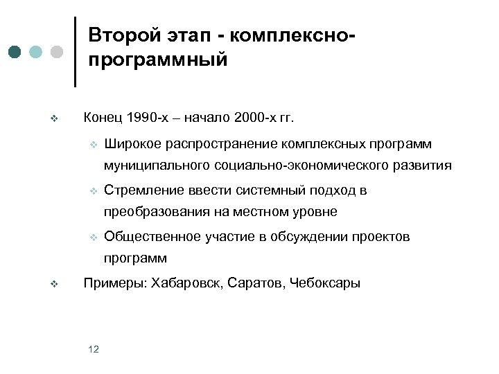 Второй этап - комплекснопрограммный v Конец 1990 -х – начало 2000 -х гг. v