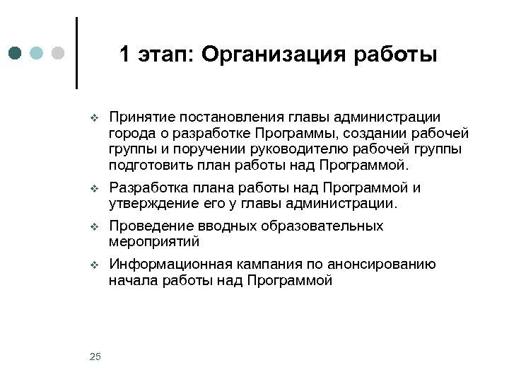 1 этап: Организация работы v v 25 Принятие постановления главы администрации города о разработке