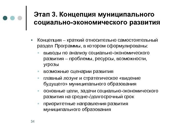 Этап 3. Концепция муниципального социально-экономического развития § 34 Концепция – краткий относительно самостоятельный раздел