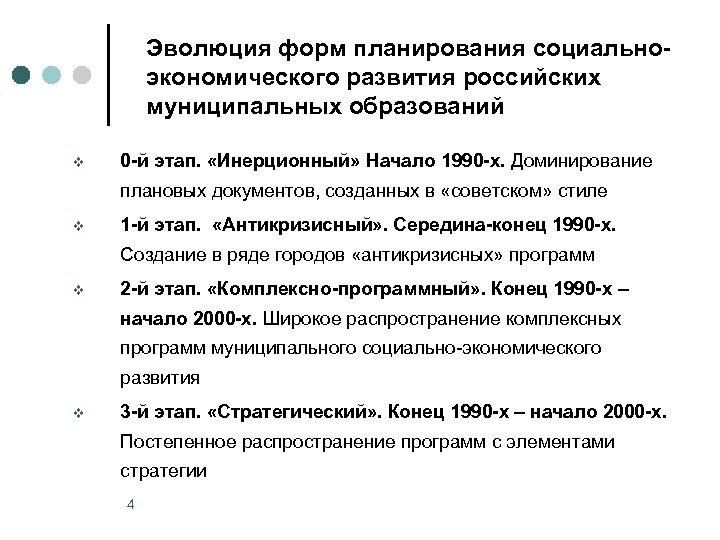 Эволюция форм планирования социальноэкономического развития российских муниципальных образований v 0 -й этап. «Инерционный» Начало