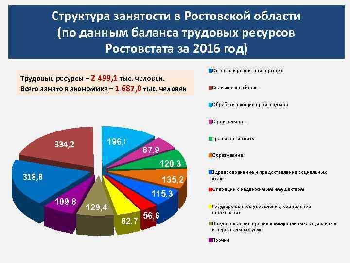 Структура занятости в Ростовской области (по данным баланса трудовых ресурсов Ростовстата за 2016 год)