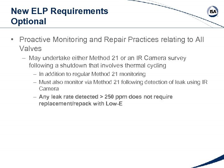 New ELP Requirements Optional • Proactive Monitoring and Repair Practices relating to All Valves