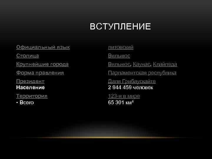 ВСТУПЛЕНИЕ Официальный язык литовский Столица Вильнюс Крупнейшие города Вильнюс, Каунас, Клайпеда Форма правления
