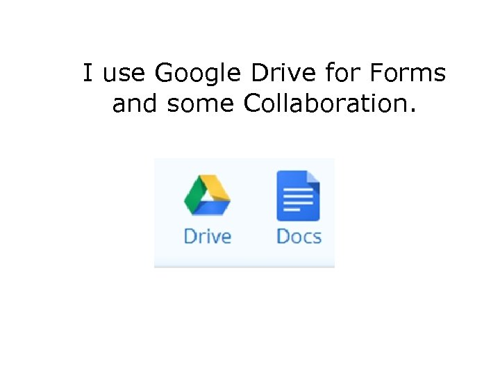 I use Google Drive for Forms and some Collaboration.
