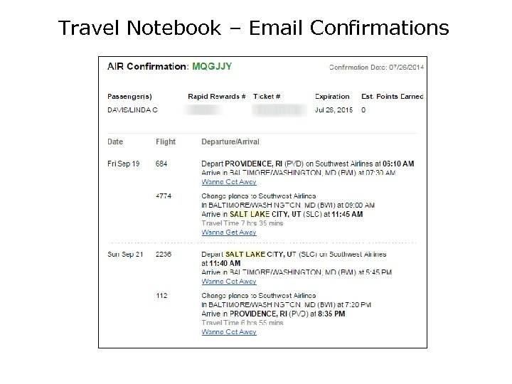 Travel Notebook – Email Confirmations